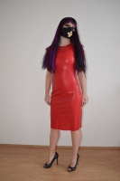 New red Latex Dress