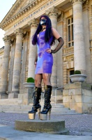 Purple Latex dress and gun boots in public