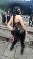 Kitty in Latex Leggings, Gothic Boots and Leopard Corset at NCN