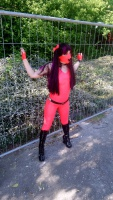 Outdoor in pink Latex Top and Leggings and Spike Lacquer Boots at WGT