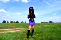 Purpe Latex dress and cat ears in the green