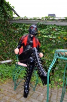 Kitty Klatsch with Gas Mask, Latexcatsuit and Boots outdoor