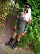 Blonde Herrin in Latex Uniform