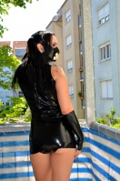 In rubber on the balcony, tram and latex shopping