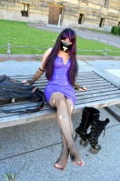 Fishnet Stockings and Latex dress in public