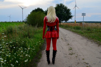 In red latex on green field and in the straw