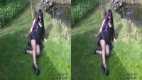 Sexy with Latexdress in the garden