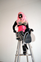 Latex Girl with pink Hair