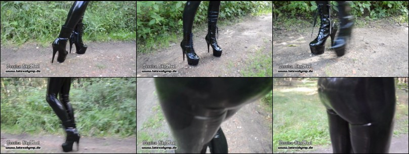 15cm PVC Plateau Boots and latex  leggings in the woods - only on tiptoes