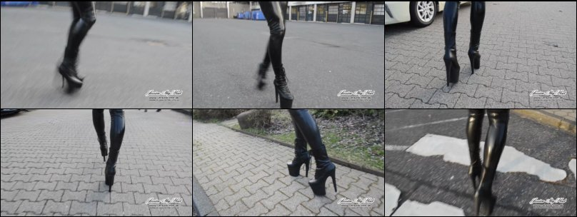 20 cm Leder Tower Stiefel und Latex Leggings outdoor laufen