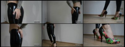 4 inch colored Stiletto Pumps and shiny liquid Leggings