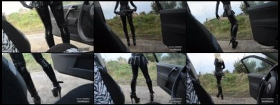 Blonde Latex Girl with 20 cm 8 inch High Heel Plateau Boots at the car