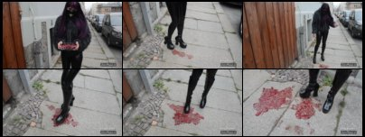 Crushing and Trampling raspberries with PU boots and latex leggings in public