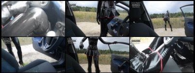 Driving Car in Latex and 15 cm - 6 inch High Heel Plateau Boots