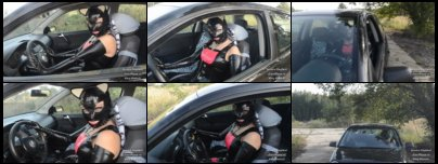 Fetish Kitty girl in Latex posing in car and does pedal pumping