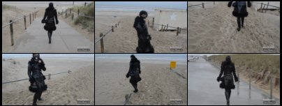 Girl in PVC Coat and 4 inch Wedge Boots on the stormy Beach in Netherlands