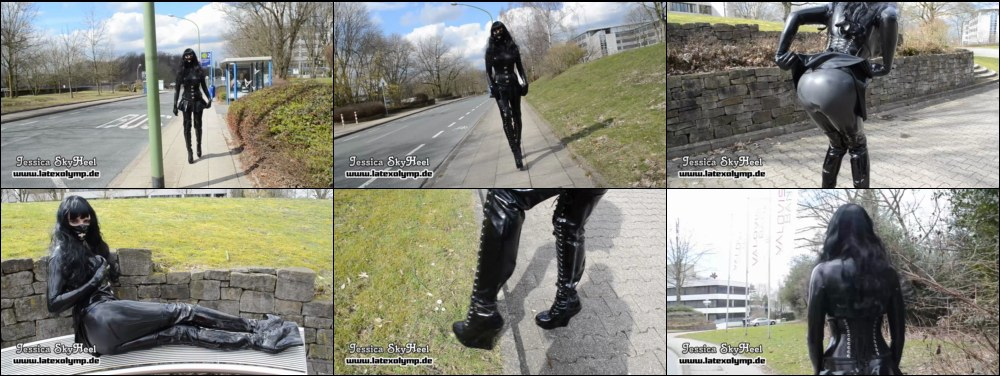 Heavy Rubber Girl walking outdoor with extreme high Wedge Thigh High Boots