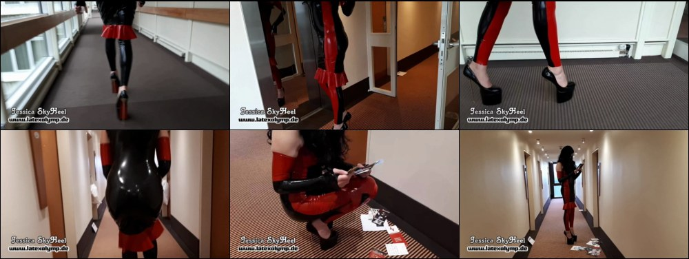 Jessica SkyHeel in extreme 23cm High Heels and Latex dress walking aorund and reading flyers