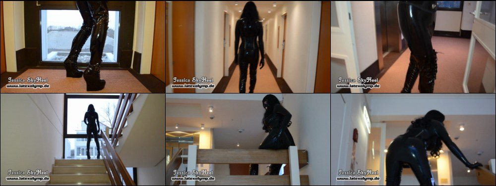 Jessica walking completely in Latex an extrem Overknee-boots trough the hotel