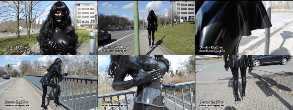 Jessica walking outdoor in Essen in Total Rubber Enclosure and High Heels (Part 1)