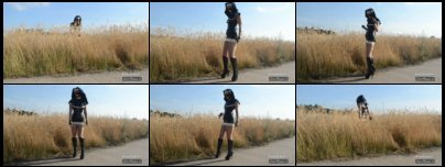 Kitty Klatsch as latex leather nun with boots outdoor