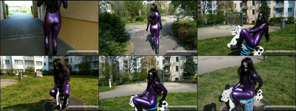 Kitty in purple Latex Catsuit - Cow Riding