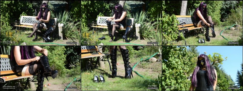 Latex Girl changing Heels in the garden