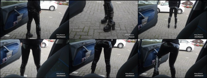 Latex Leggings Girl with black leather Boots at her car