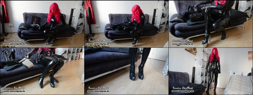 Latex Mistress Jessica changes her Bondgirl High Heels to Erogance Stilettos inlcuding unboxing