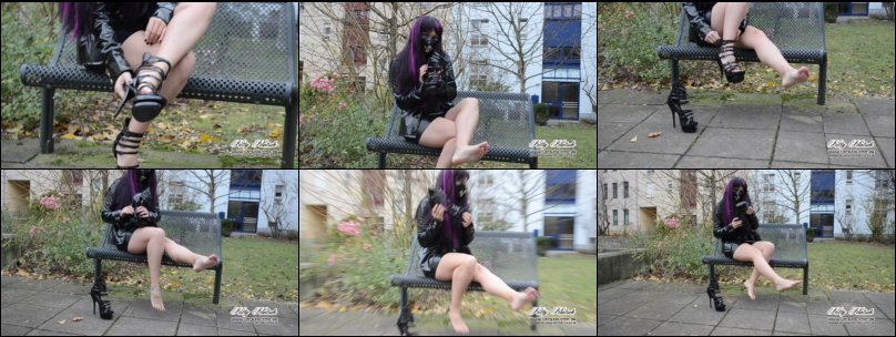 Latex PVC Girl putting of her 15cm High heels and showing her feets barefoot