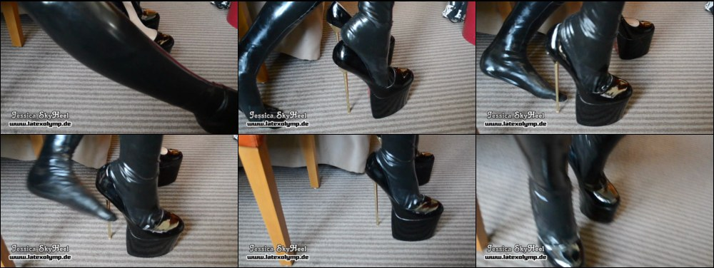 Latex toe socks and extreme high heels