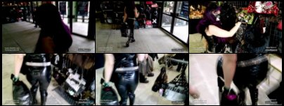 Latex girl in rubber leggings and top shopping on Agra mall at WGT 2015