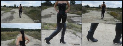 Mistress in Leather outdoor - hot
