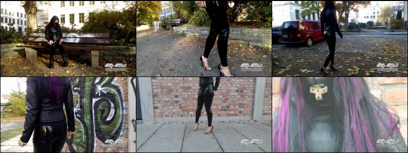 Outdoor in Latex Leggings, Lederjacke und High Heels