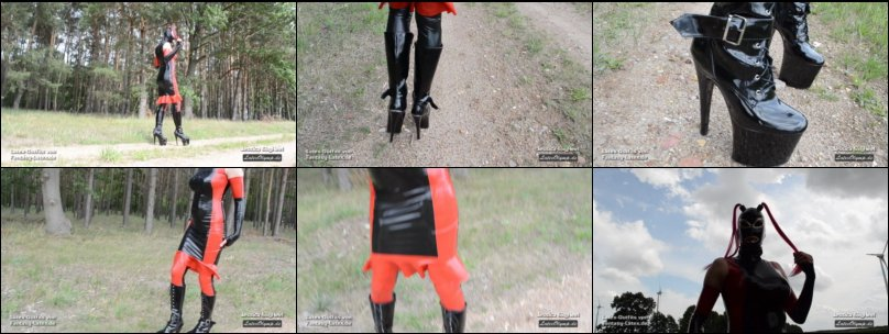 Outdoor in black red Latex dress, mask an 8inch 20 (20cm) tower boots and pony tail mask