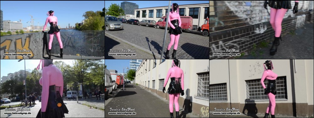 Pink Full Rubberdoll outdor in Berlin