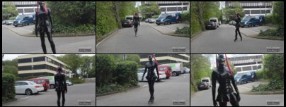 Rubber girl Jessica SkyHeel walking in black latex catsuit, corset and bondgirl boots at a parking range