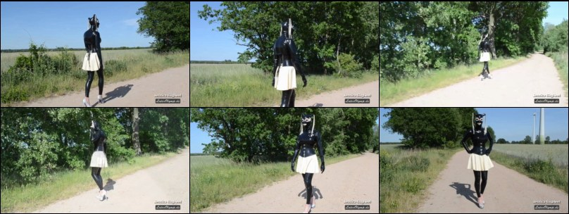 Rubberdoll outdoor with Latex Leggings Skirt Mask and Pumps