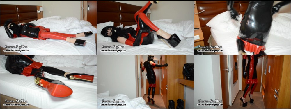 Sexy Girl waking up in Latex and Porn Heels and getting ready for the day