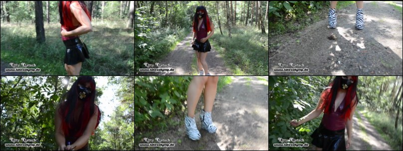Sexy Latex Girl with 15cm Zebra-Wedges crushes berries in the woods