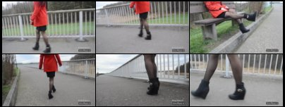 Walking outdoor in Nylon Stockings and High Heel Wedges
