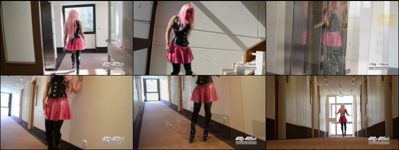 Walking in 6in Spike Boots and Latex Outfit trough Hotel