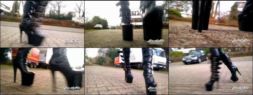 Walking outdoor in 8 inch (20cm) shiny Boots and Latex