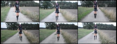 Wearing Latex Skirt and Bondgirl Boots in Public Part 1