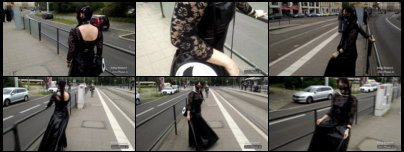 Women with latex mask and PVC dress in public at the tram stop
